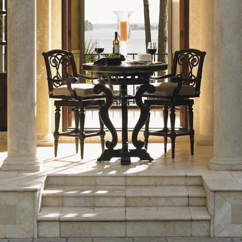 Tuscan Style Kingstown Sedona 3 Piece Dining Pub Set with Bar Stools by Tommy Bahama Outdoor Living #tuscandecor #diningfurniture #counterheight