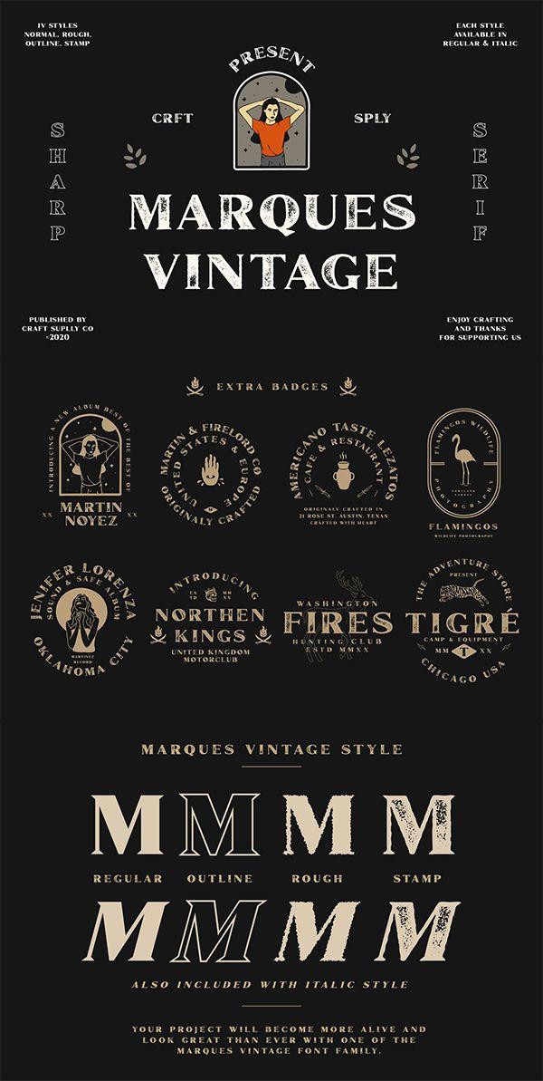 Marques Vintage Font Family Extras In 2020 Vintage Fonts Vintage Graphic Design Wedding Fonts
