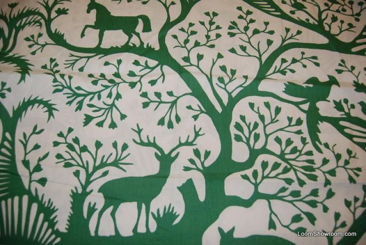 Thomas Paul Springtime Scandinavian Modern Wood Cut Animals Graphic Forest Deer Horses Rabbits Birds w/ Trees Plants Bright Green Designs w/ Ivory background Fabric Heavy Weight Cotton Fabric Decor Fabric DSO300