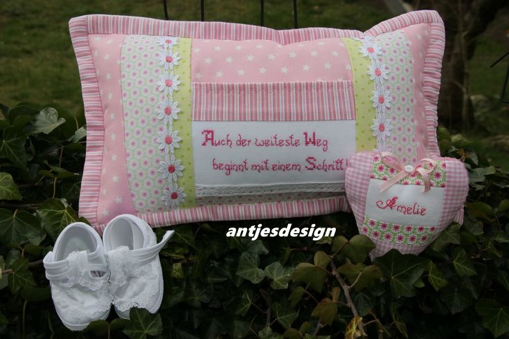 Birth, baptism, baptisme pillow embroidered with saying, birth pillow gift girl, pink, heart with name, gift to birth, baptisme gift
