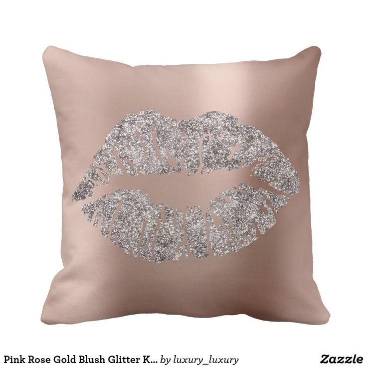 Pink Rose Gold Blush Glitter Kiss Gray Metallic Throw Pillow
