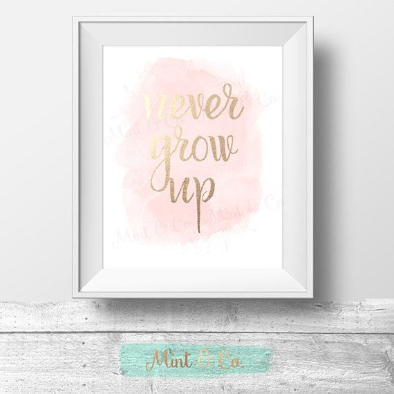 Never Grow Up Print Peter Pan Quote Girls Room by MintandCompany