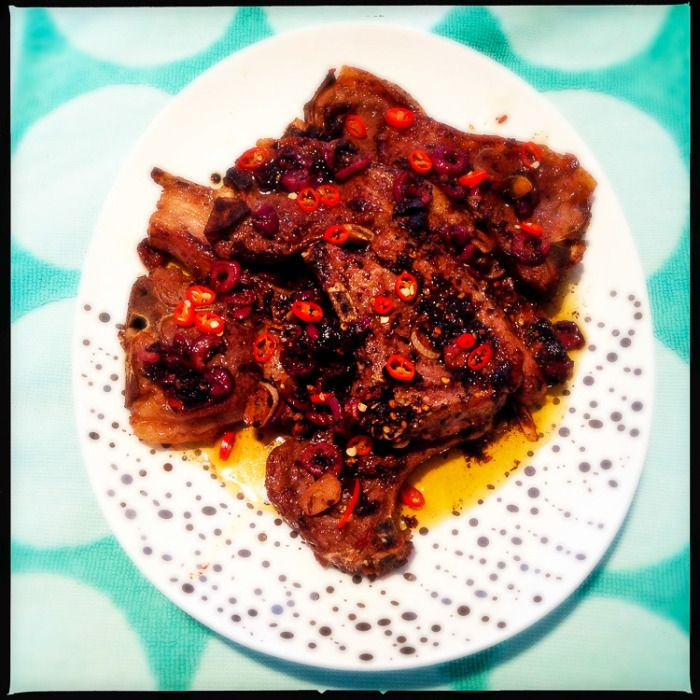 This is a fab recipe from Nigella. Quick and tasty - that's how we like to roll! Lamb cutlets with chilli and black olives. #Paleo #Glutenfree