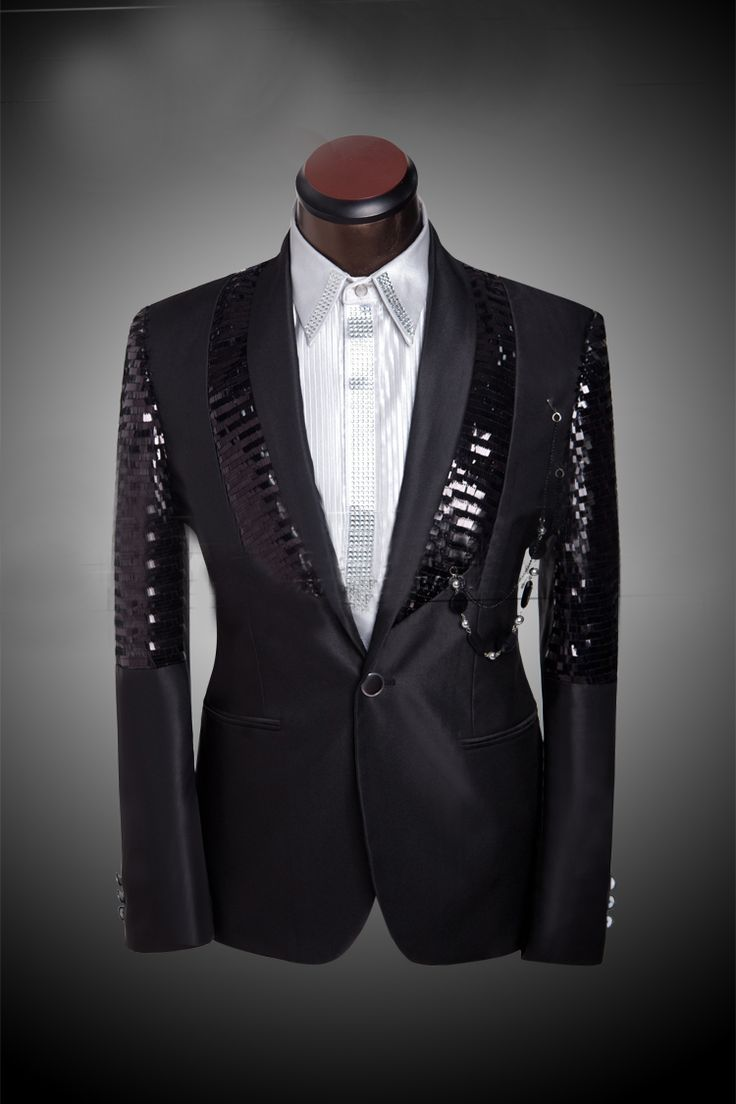 Shiny Pants for Men Prom Sequin Dress Costume Wedding Tuxedo For Men Custom Made Black 3 Piece Wedding Suits((Jacket+Pants+Tie) $89.79