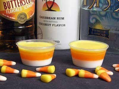 Candy corn jello shooter- coconut milk, vanilla schnapps,Knox unflavored gelatin, orange jello, orange sherbet,butterscotch schnapps,pineapple jello,Yellow& orange food coloring