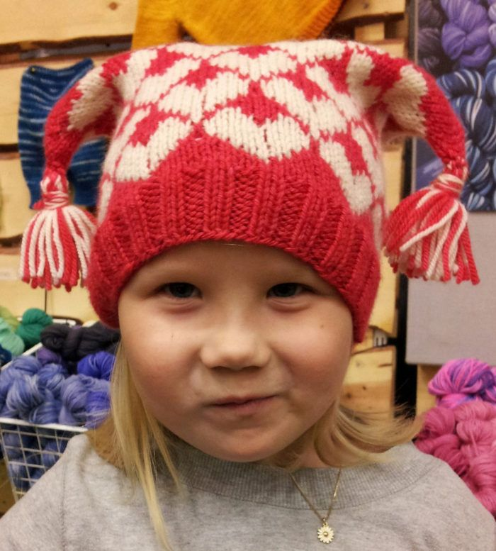 "Free Knitting Pattern for ""I heart you"" hat - This hat features hearts in stranded colorwork and is sized 1-16 years. Designed by Nina Figenschau. Available in English and Norwegian"