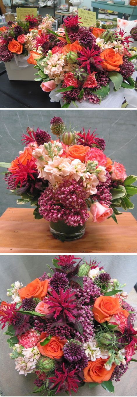 Naranja and Spanish Dancer roses, plum asclepias, peach stock, allium, and love-in-a-mist