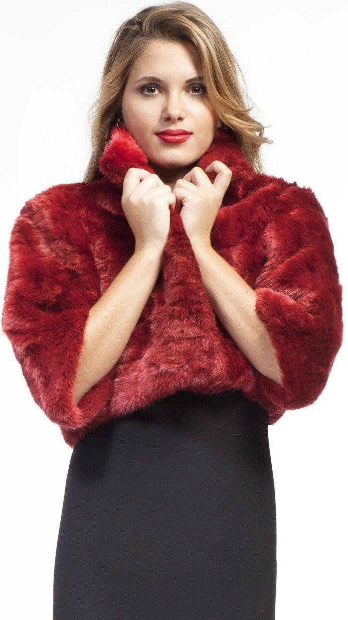 DRESSEOS - Abrigo de piel sintética rojo burdeos, perfecta para cualquiera de tus ocasiones - red burgundy faux fur jacket