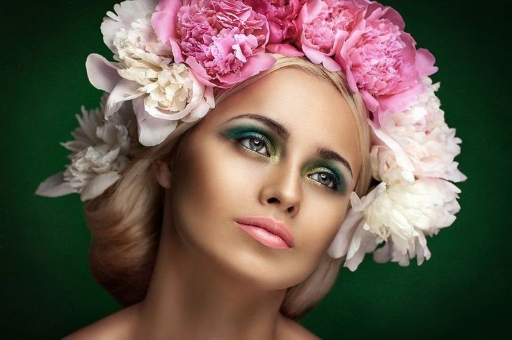Kristina Sotnik A mysterious #woman with #makeup and #beautiful #flowers on her head