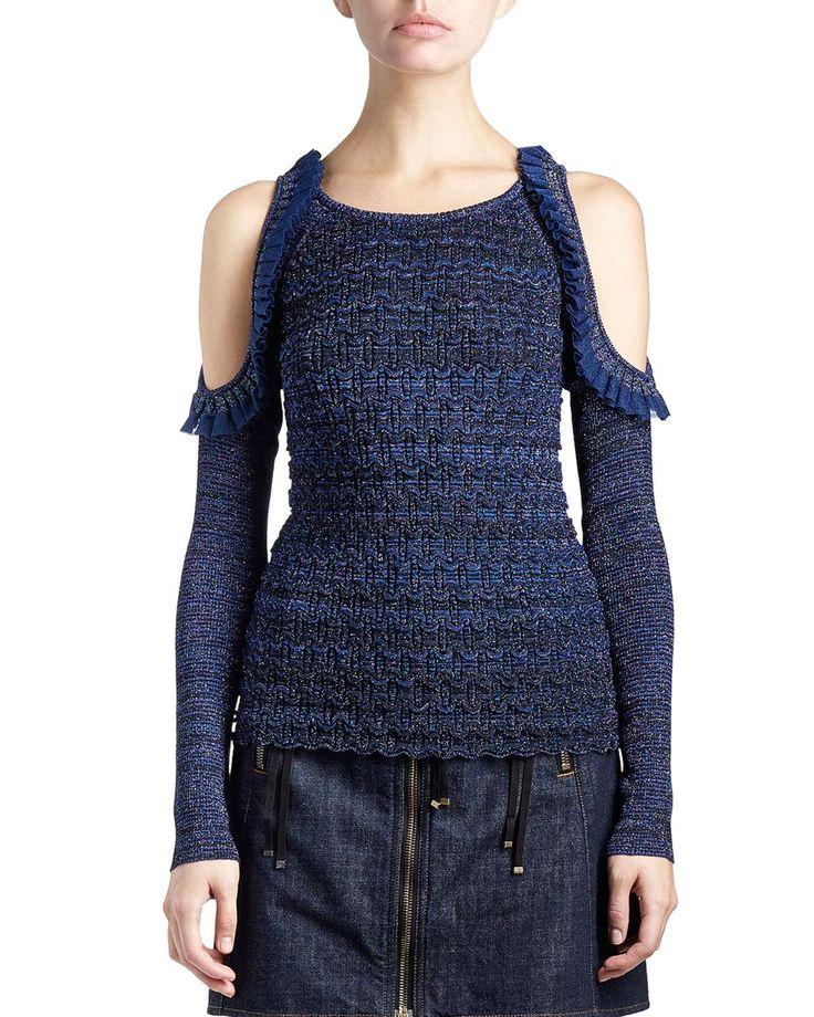 Kenzo Metallic Cold-Shoulder Ruffle-Trim Stretch Top & Cotton Denim Zip Mini Skirt
