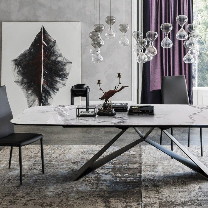 Stylish 63 71 79 Rectangular White Faux Marble Dining Table With Black Metal Frame Dining Table Marble Marble Dinning Table Dining Table
