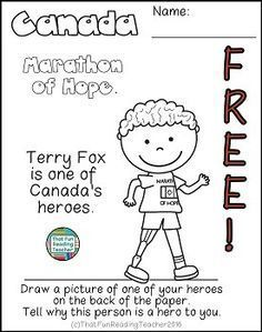Canada #Freebie - #TerryFox A fun, printable, no-prep social studies activity for K-2 students learning about Canada! #CanadianHeroTerryFox