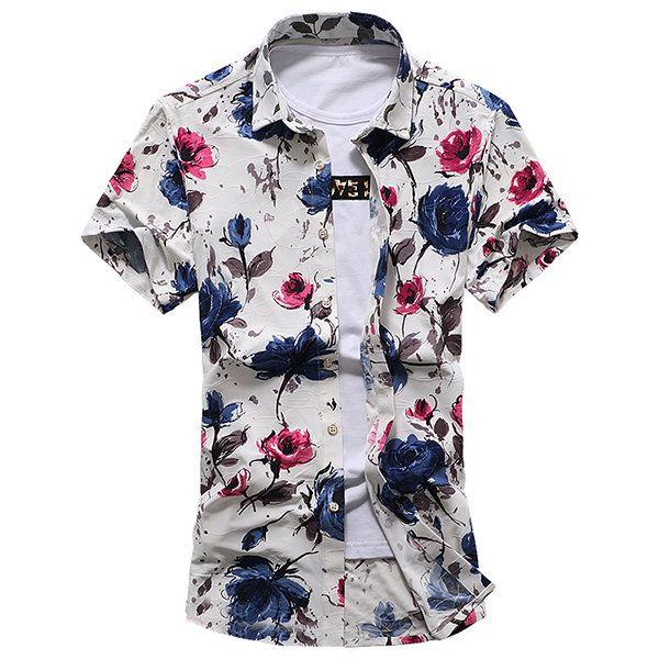 Plus Size Beach Seaside Fashion Flowers Printing Loose Short Sleeve Dress Shirts for Men