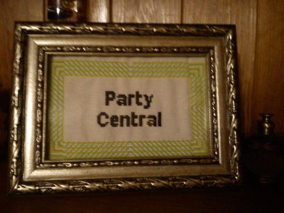 Party Central. Completed cross stitch £10 https://www.etsy.com/listing/186774115/party-central-completed-framed-cross