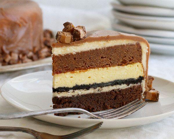 Decadent Three Layer Cake {Milky Way Cake, White Chocolate Cheesecake, & Dark Chocolate Cake} from iambaker.net