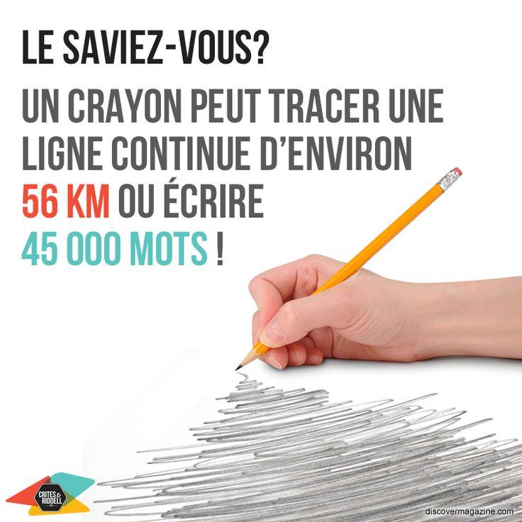 Le saviez-vous? Un crayon peut tracer un ligne continue d'enviton 56 km ou écrire 45 000 mots!