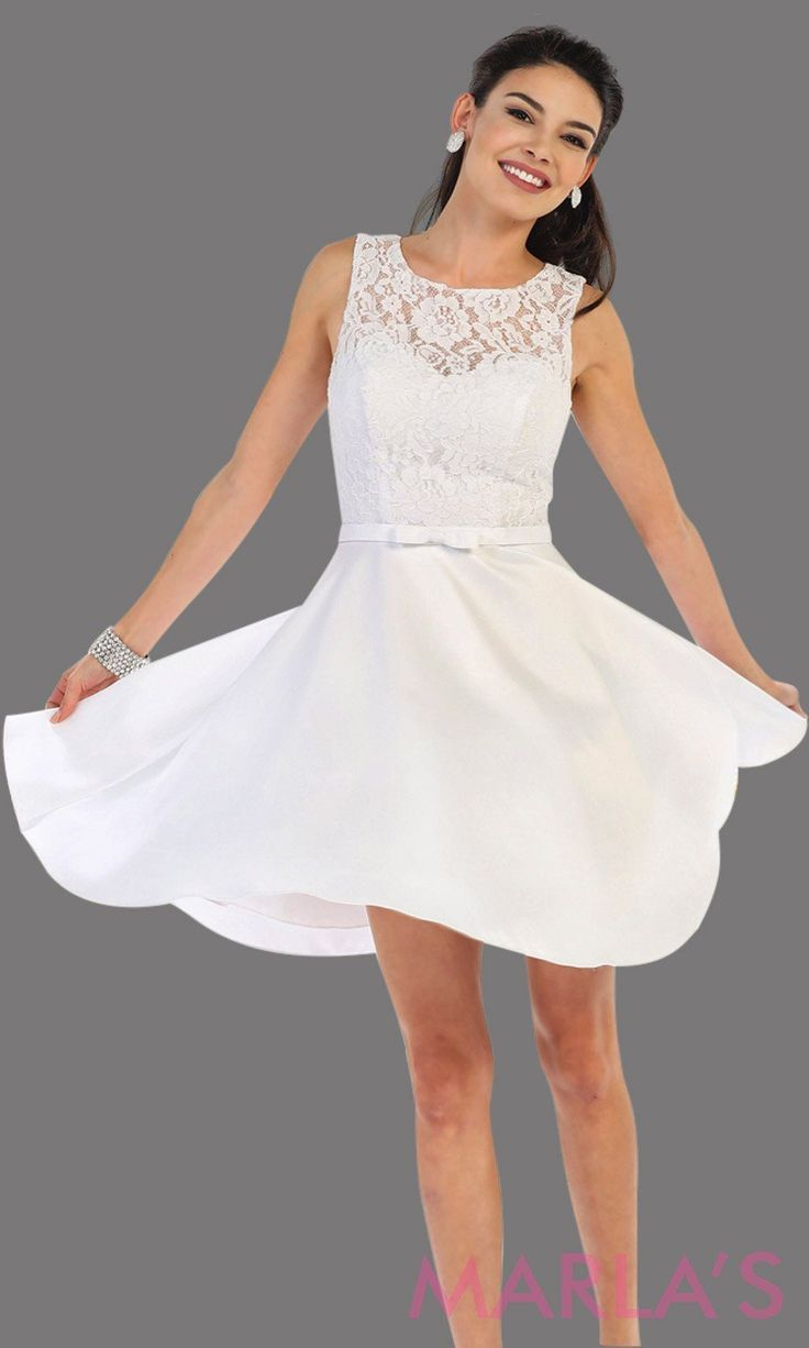 9a57fea22cdc Short simple semi formal white dress with lace bodice and satin skirt.  White dress is perfect for grade 8 grad, graduation, short prom, damas  quinceanera, ...