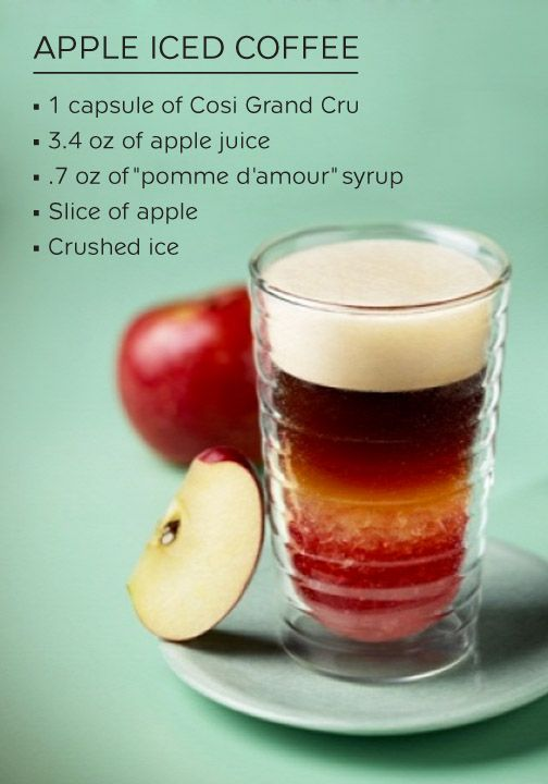 Celebrate the arrival of fall by sipping on a glass of this Apple Iced Coffee. Apple juice and sweet pomme d'amour syrup wonderfully complement the savory notes of Cosi Grand Cru. This iced coffee creation is the tastiest way to refuel mid-day!
