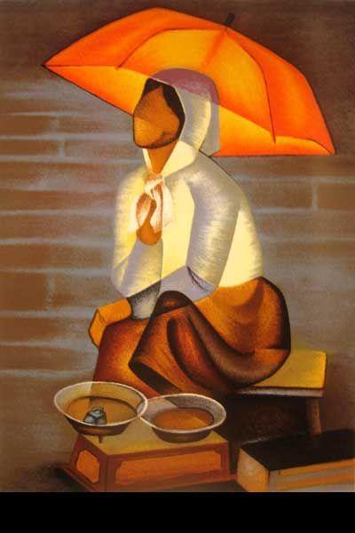 Oeuvre du peintre Toffoli - Sous le parasol