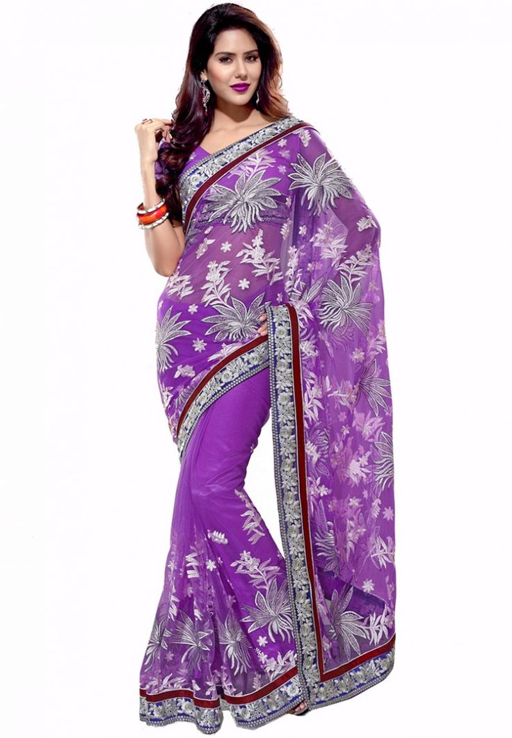 Purple Embroidered Saree at $121.22 (24% OFF)