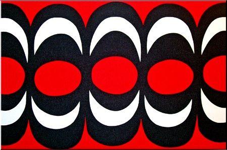 Marimekko 'Kaivo' fabric wall art in red, black and white  120x180x4cm