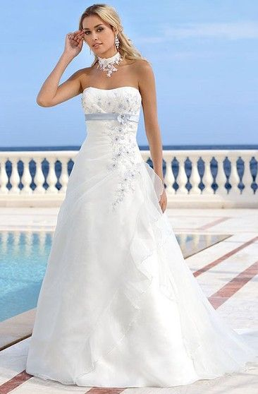 Maxi Strapless Floral Wedding Dress With Ruching And Draping