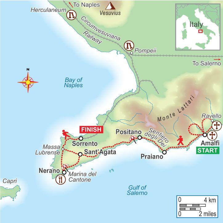 Amalfi Coast (Italy) route map
