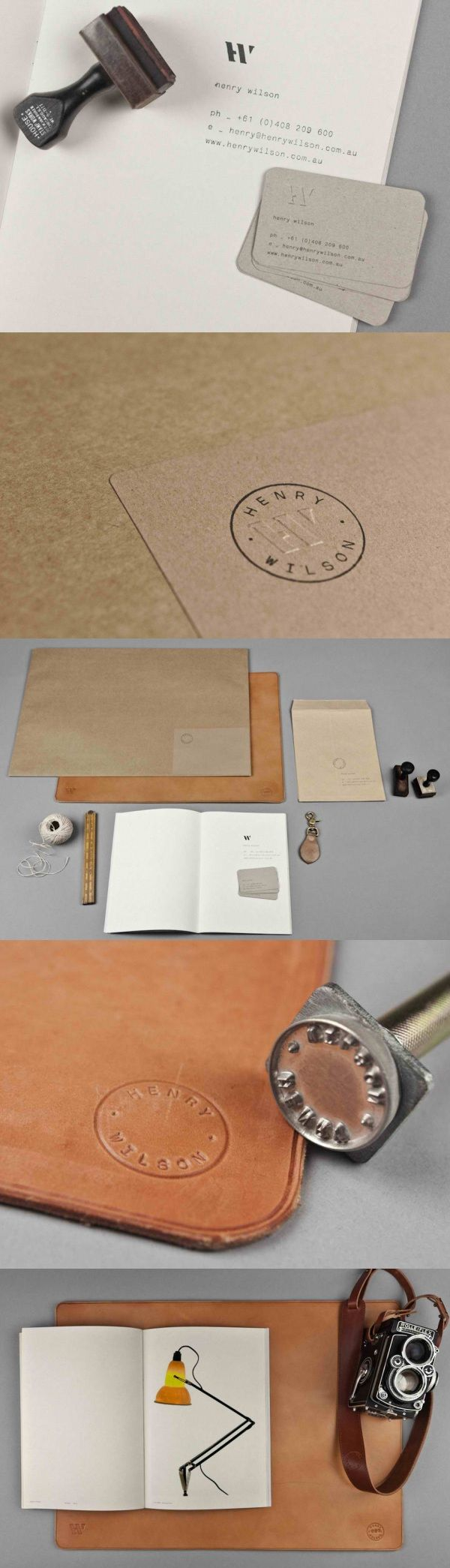 Henry Wilson Business Card & Brand Identity_I am all for the hand-made business cards. More people should definitely do this! Henry Wilson's gives us a wonderful example of how they do it with a simple ink stamp and nice cardstock. Brand Identity by Maud Design.