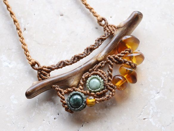 Fossil Coral × Guatemala jade × Amber / natural stone pendant - natural stone accessories mail order   ARTEMANO (Arutemano)