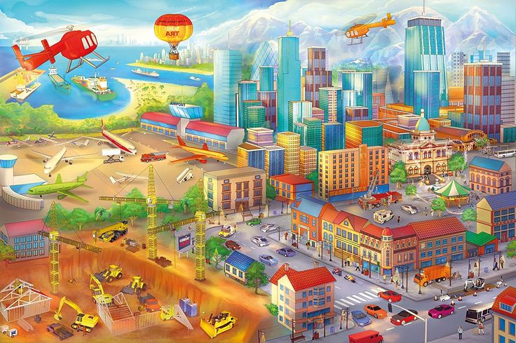 Colourful city in comic style / wall decoration by Great Art / Mural Town Motiv / Children's room decoration XXL wallpaper 55 Inch x 39.4 Inch ** Special  product just for you. See it now! : Wall Stickers and Murals for Home Decor