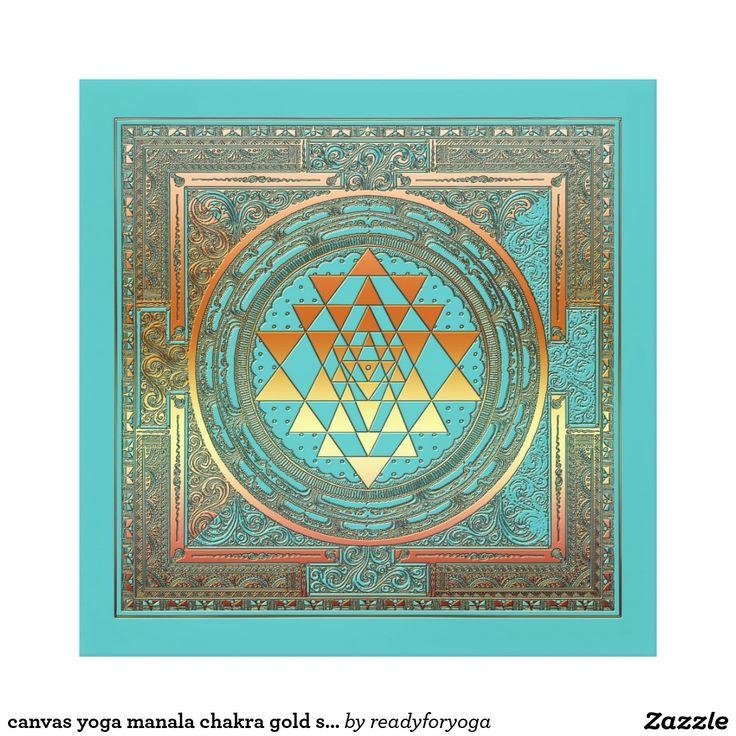 canvas yoga manala chakra gold symbol turquoise