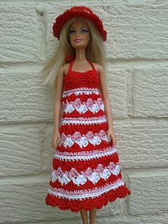 Summer Dress & Hat - free on Ravelry http://www.ravelry.com/patterns/library/barbie-crochet-summer-dress-and-hat