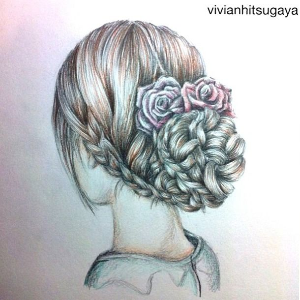 draw hair braids beautiful