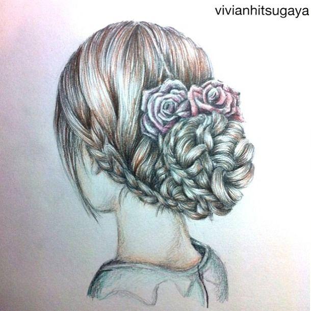 how to draw hair braids | beautiful, braid, drawing, girl ... Braided Hair Drawings Tumblr