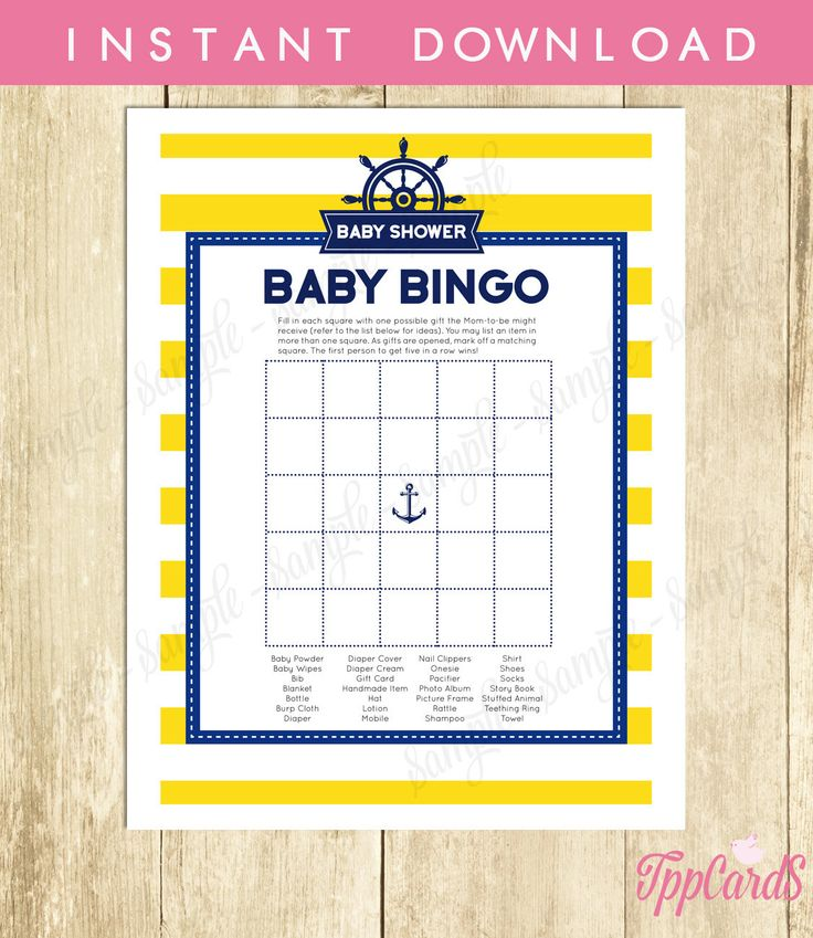 New to TppCardS on Etsy: Instant Download Blue Yellow Nautical Baby Shower Bingo Cards Printable Sailor Theme Party Game Gender Neutral Yellow Blue Baby Bingo (2.00 EUR)