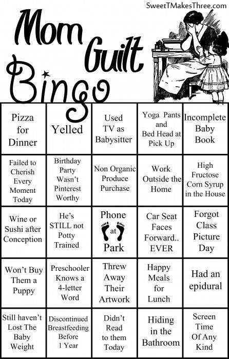 Feeling some mom guilt today? Of course you are! Let's make a game of it. Mom Guilt Bingois perfect forMom's night out,whereyou're alreadyfeeling guilty for enjoying the break you are taking from the kids. Everyone gets a free space for looking at their phone at the park. If you have not used your phone at …