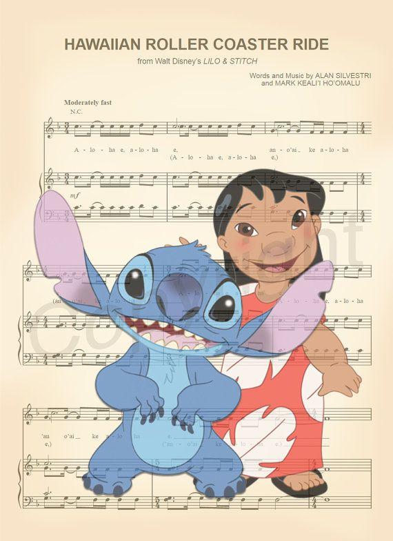 Lilo and Stitch Sheet Music Art Print by AmourPrints on Etsy