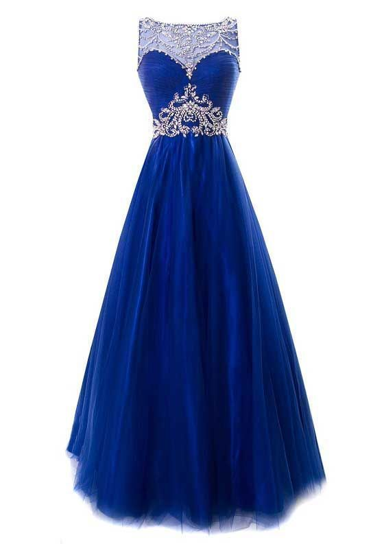 2017 Custom Made Charming Royal Blue Prom Dress, Sleeveless Evening Dress,Beading Prom Dress