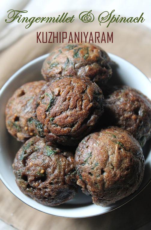 YUMMY TUMMY: Ragi Kara Paniyaram Recipe / Fingermillet & Spinach Kuzhi Paniyaram Recipe