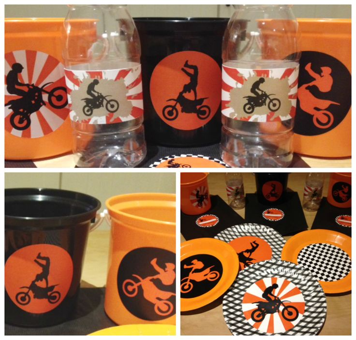 Dirt Bike Party! Branded buckets, bottles and plates made by Such Fun www.suchfun.co.za