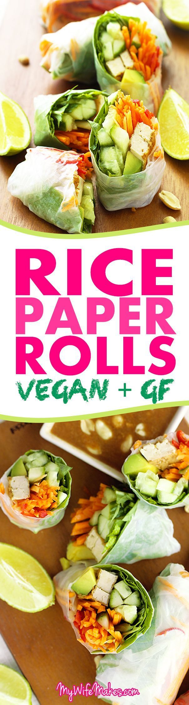 Easy lunch recipe for Vegan Rice Paper Rolls with Hoisin Peanut Dipping Sauce. Filled with avocado, carrots, cucumbers, chillies, and other healthy ingredients.