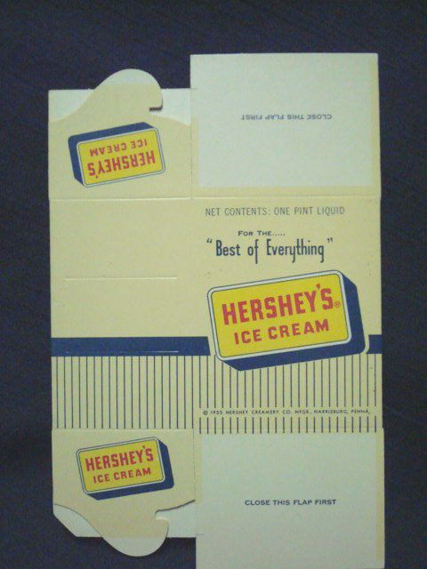 Hershey's Ice Cream One Pint Cardboard Container 1955