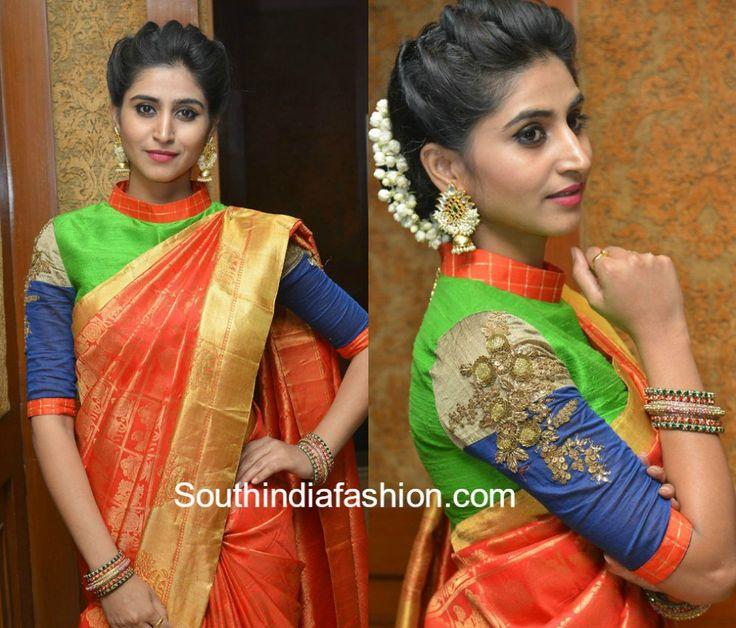 Shamili in a Kanjeevaram saree and high neck blouse