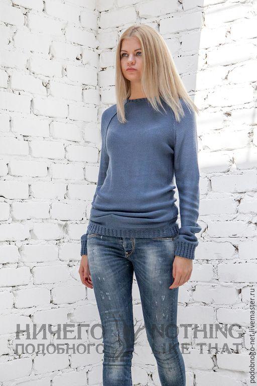 Купить синий хлопковый свитер - синий, однотонный, хлопковый свитер, свитер ручной работы