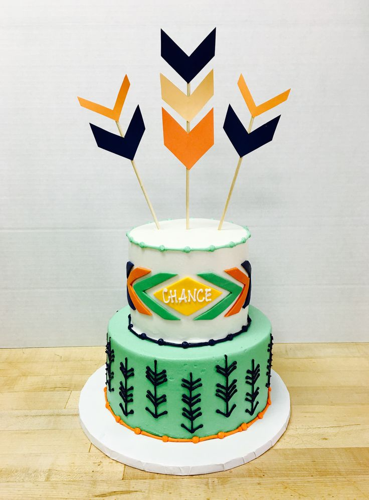 Aztec and Arrow Baby Shower Cake