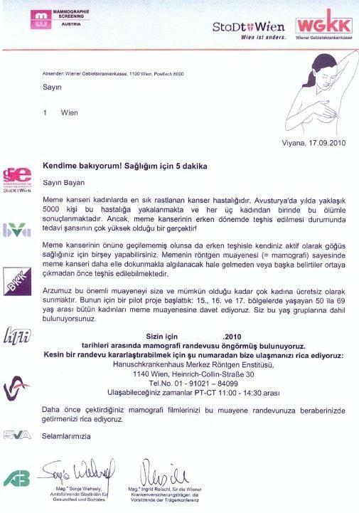 """WKK-Brief  """"..Teilnahme an der Brustkrebsvorsorgeuntersuchung ist .. für Sie kostenfrei – auch wenn Sie nicht versichert sind..."""" Wr. Stadträtin hat zum Sozialmissbrauch aufgerufen. Einladung ist in vier Sprachen versandt worden. Die englische trug die britische Fahne, die türkische jene der Türkei. Bei der serbokroatischen scheint nur die bosnische auf.... Muslime bevorzugt??"""