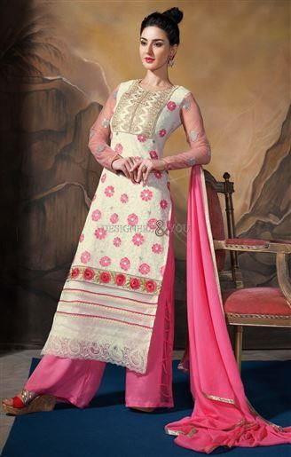 Looking for suits in Pakistani designer dresses than wear this #straightcut salwar kameez also known as #alinefrock suit in Indian online shopping for modern girls. #Pakistanisuits #designerdresses #straightsalwar #kameezaline #frocksuit
