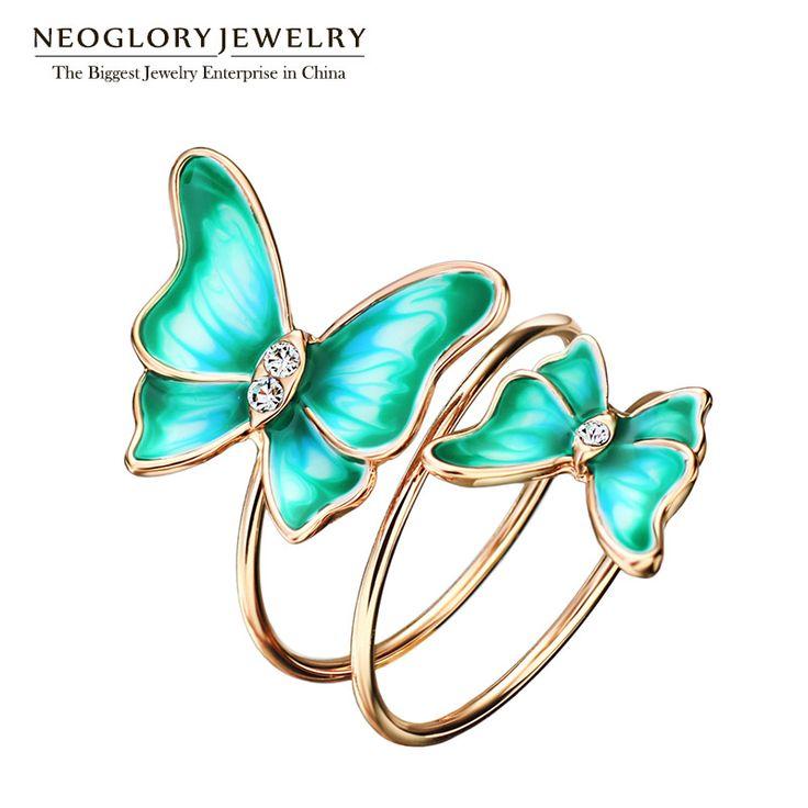 Neoglory chapado en oro verde del esmalte de la mariposa de múltiples capas regalos para las mujeres de compromiso anillos de bodas de la vendimia grandes joyas de la moda 2017