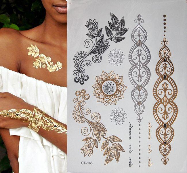 Ücretsiz kargo vücut sanatı altın ışıltılı takı dövmeler su geçirmez geçici dövme dövme kadınlar sahte flaş metal kol