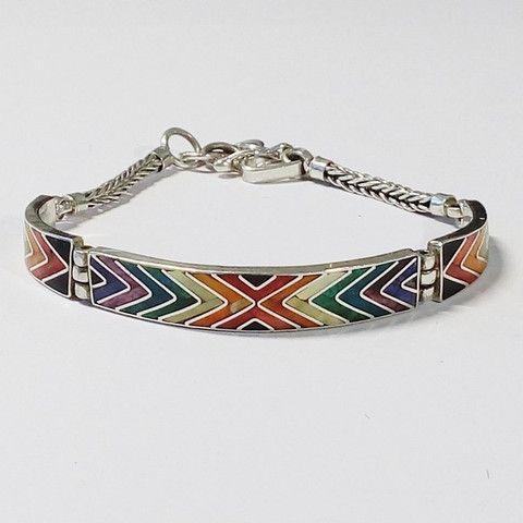 bracelet de pierres fines multi couleurs en argent 950, bracelet péruvien